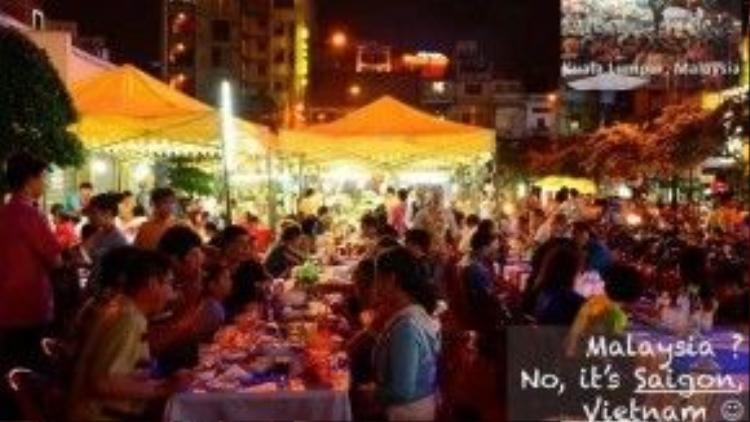 Cảnh đông đúc ở chợ đêm Bến Thành không khác gì những khu phố của Malaysia vào buổi tối.