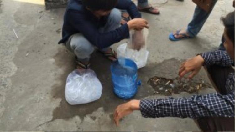 Anh trai nạn nhân Phương thay nước đá bàn bảo quản bàn tay trái của em mình để chờ phẩu thuật.
