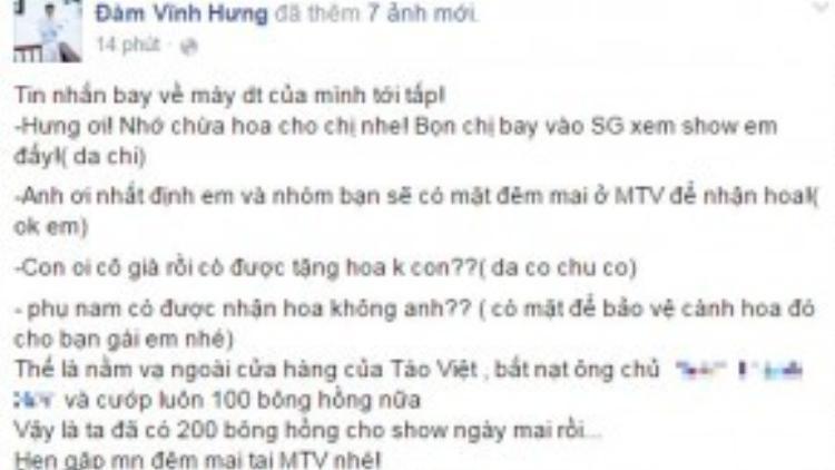 Status mới nhất của Đàm Vĩnh Hưng trên mạng xã hội.