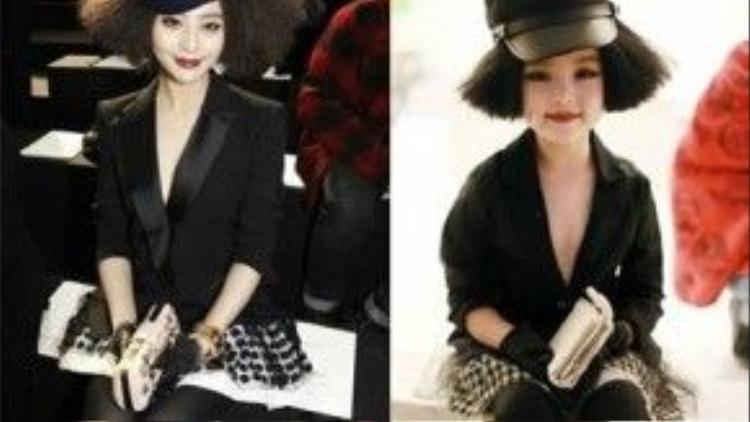 Đôi khi cô phá cách với thiết kế của hãng Louis Vuitton với chân váy xòe chấm bi, vest đen, mũ và mái tóc xoăn tít xù bông độc đáo. Dành lời khen cho mẫu nhí khi có tạo hình giống tới 100% như Phạm Băng Băng.