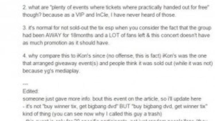 Fan WINNER phản hồi lại bài báo.