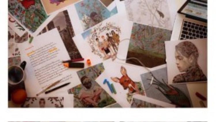 Không những thế Kelbin còn cap lại ảnh thiết kế hoa văn trong chiến dịch mới trong đó có họa tiết của anh chàng được nhãn hiệu này updtae trên page Instagram chính thức của Gucci.