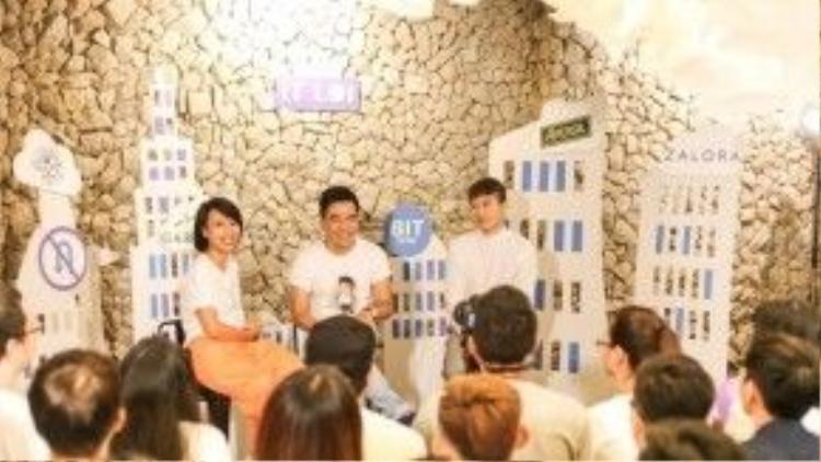 Bộ ba Thùy Minh, Ngọc Thạch và Lê Minh Ngọc trong buổi off fan.