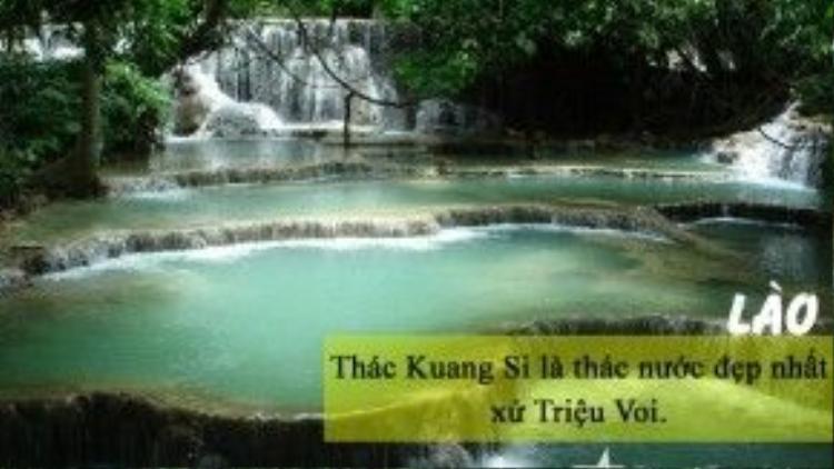 Thác Kuang Si nằm cách trung tâm cố đô Luang Prabang, khoảng 29km về phía Nam. Kuang Si là quần thể thác nước lớn nhỏ đầy ấn tượng, độc đáo của Lào. Nếu đi bằng tuk tuk, du khách sẽ phải tốn khoảng 50.000 kip (140 nghìn đồng) cho hành trình 40 phút. Vé tham quan Kuang Si vào khoảng 20.000 kip (55 nghìn đồng).