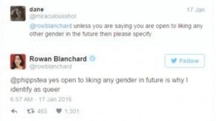 """@rowblanchard: """"Xin hãy nói rõ ra, trừ phi ý cô là giới tính nào cô cũng sẽ thích"""". @rowblanchard: """"Đúng vậy. Chính vì giới tính nào tôi cũng sẽ thích nên tôi mới tự nhận mình là """"queer""""."""