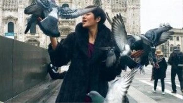 Khu vực xung quanh nhà thờ Doumo có rất nhiều chim bồ câu. ĐỗHà cho biết, do đi một mình nhưng lại muốn chụp ảnh cùng những chú chim bồ câu đáng yêu, cô đãkhông ngần ngại nhờ đếnsự trợ giúp từ người dân địa phương.