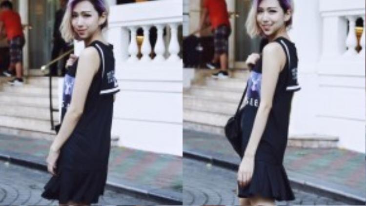 Trái ngược với hình ảnh màu sắc của Dương Minh Tuấn, cô nàng Min dường như rất hiếm khi diện những bộ cánh mang các tông rực rỡ.