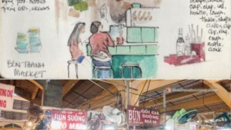 """Bún suông Cô Mai ở chợ Bến Thành là một trong những điểm ăn uống nổi tiếng của thành phố. Là quán bún gia truyền nhiều đời, hiện địa chỉ bún suông này thu hút rất đông khách hàng mỗi ngày. Thế nhưng, với giá khá """"chát"""", từ70 nghìn đồng/tô, bún suông Cô Mai đang nắm kỷ lục """"tô bún suông mắc nhất Sài Gòn""""."""