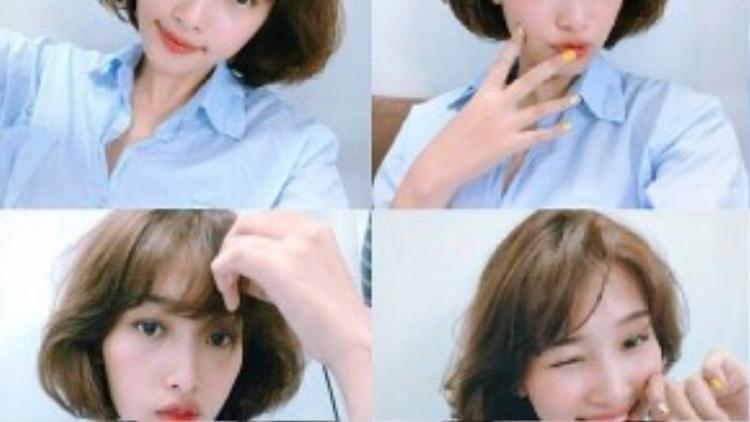 """Hot girl Nzim chia sẻ hình ảnh mái tóc bob màu nâu hạt dẻ được làm tại samiehaircolor, tiệm làm tóc """"ruột"""" của cô nàng."""