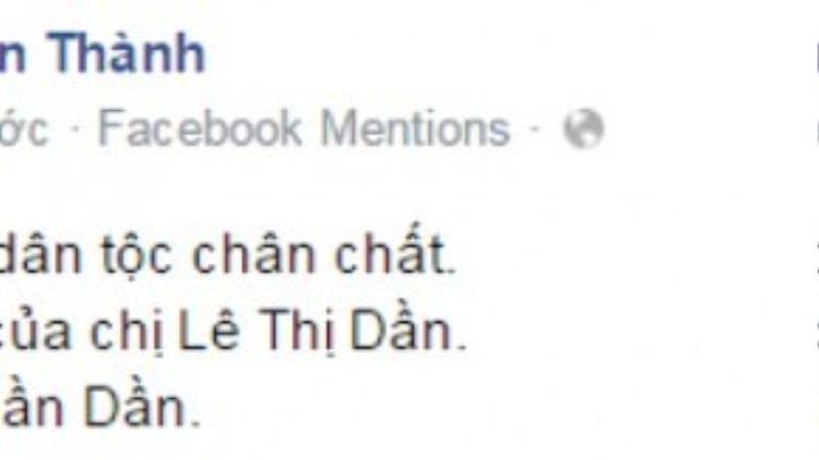 Status mới nhất của Trấn Thành trên Fanpage chính thức.