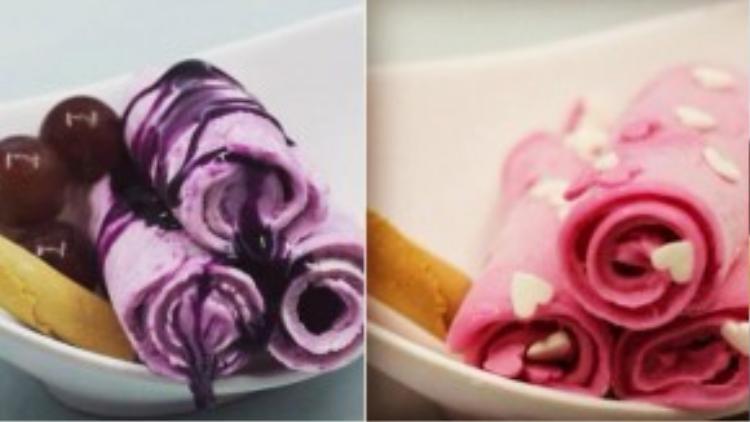 Khác với các loại kem lạ kể trên, món kem cuộn có giá cả khá bình dân, vào tầm 15 nghìn/suất, rấtphù hợp với học sinh và sinh viên. Thậm chí một số quán còn sáng tạo đem kẹp cuộn kem vào bánh mỳ ngọt, cũng là một sự biến tấu khá thú vị của kem cuộn.