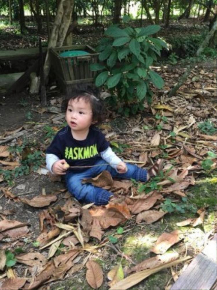 Noah thích thú khám phá vườn cây trái sau phút lạ lẫm ban đầu.