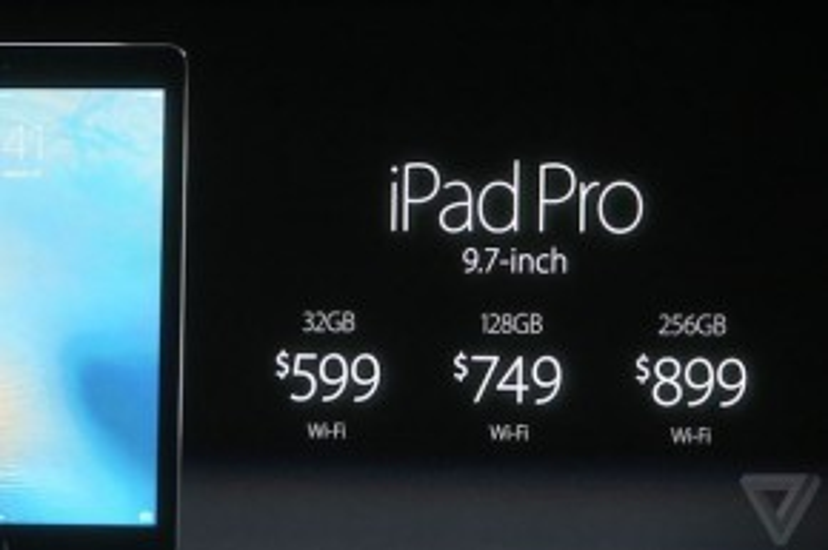 iPad Pro phiên bản 9,7 inch sẽ có giá từ 599 USD (bản 32GB Wi-Fi) tới 899 USD (bản 256 GB Wi-Fi).