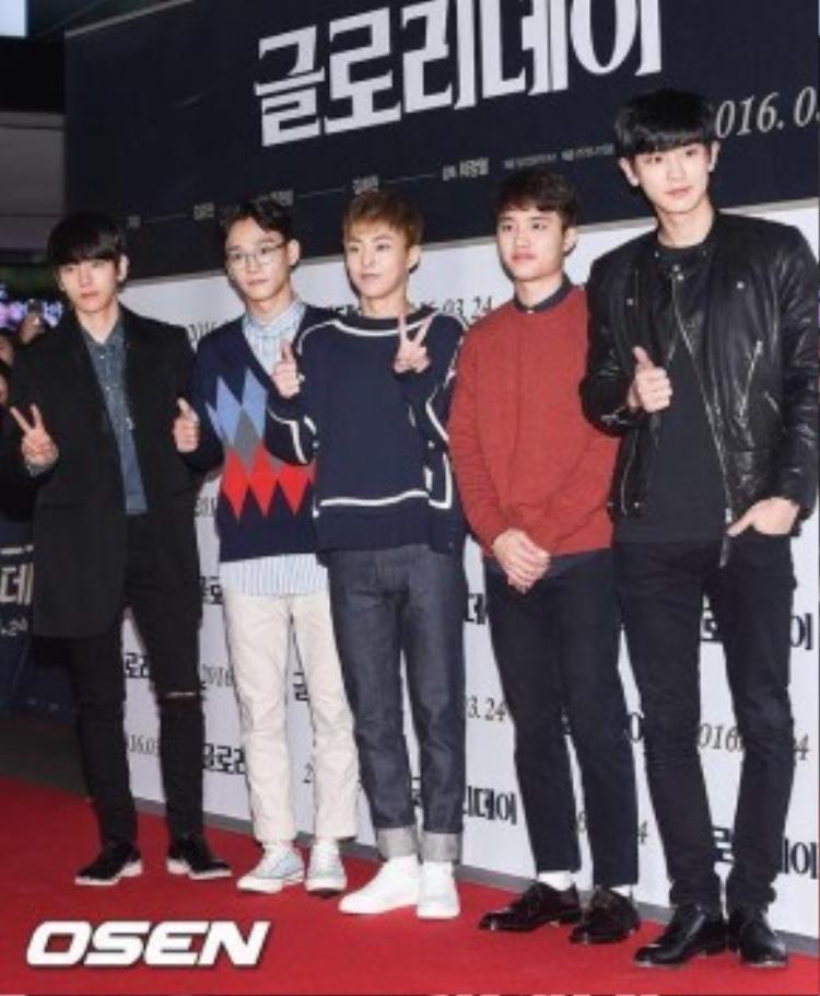 EXO xuất hiện cùng 5 thành viên: Beakhyun - Chen - Xiumin - D.O và Chanyeol.