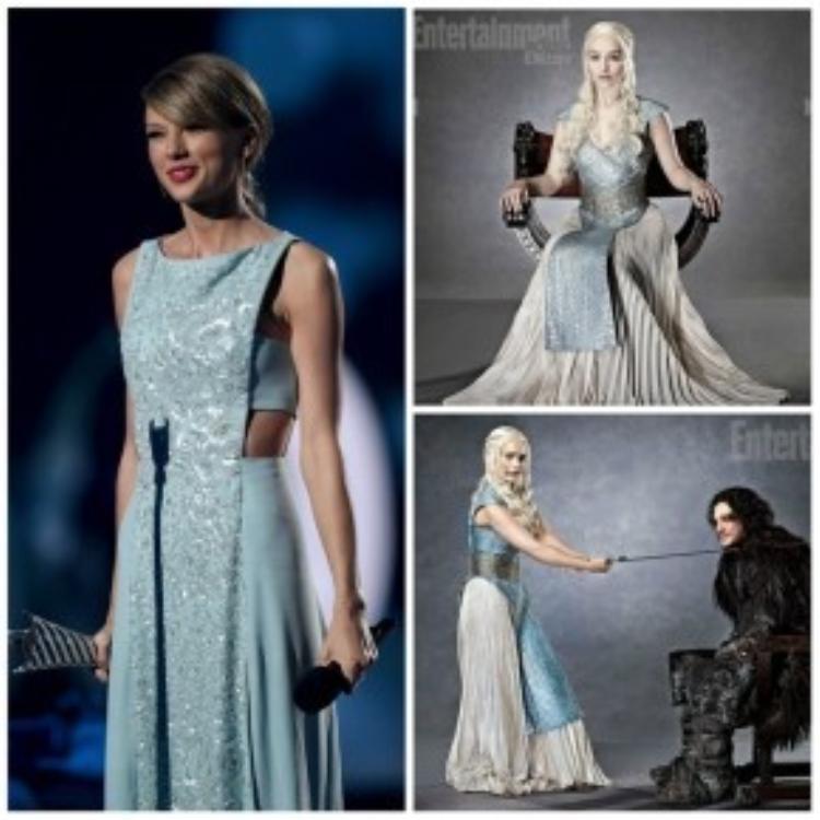 Taylor trong ACM Awards và Dany trên tạp chí Entertainment Weekly.