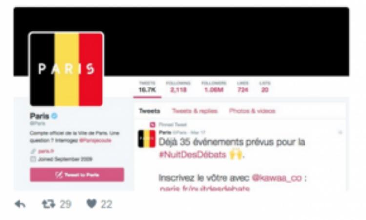 Tài khoản Twitter của thành phố Paris đã thay ảnh đại diện thành quốc kỳ Bỉ để thể hiện sự sẻ chia với nước bạn láng giềng.