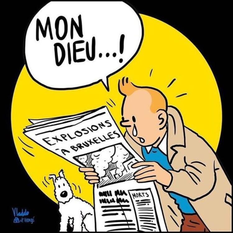 Thế giới mượn ảnh Tintin và cậu bé đứng tè để động viên người dân Bỉ