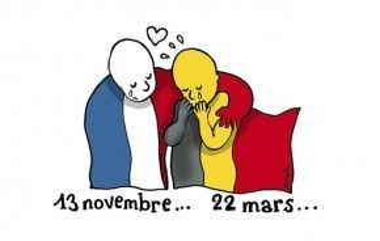 Nhật báo nổi tiếng của Pháp Le Monde đã ngay lập tức chia sẻ bức hình hoạ nghệ sĩ vẽ tranh biếm hoạ nổi danh Plantu để thể hiện sự đồng cảm lớn lao của nước Pháp cũng như cộng đồng quốc tế đối với Bỉ vào thời điểm thương tâm này.
