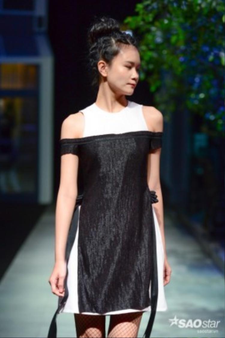 Không quá sắc xảo như bst của Võ Công Khanh, NTK Nguyễn Hoàng Tú lại chọn cho mình những tông màu trầm tương đối đơn giản và phá cách hơn.
