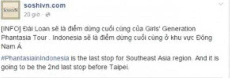 Theo như thông báo của fansite SNSD tại Việt Nam thì Đài Loan sẽ là điểm dừng chân cuối cùng của Phantasia và Indonesia là đất nước Đông Nam Á cuối cùng trong lịch trình tour diễn.