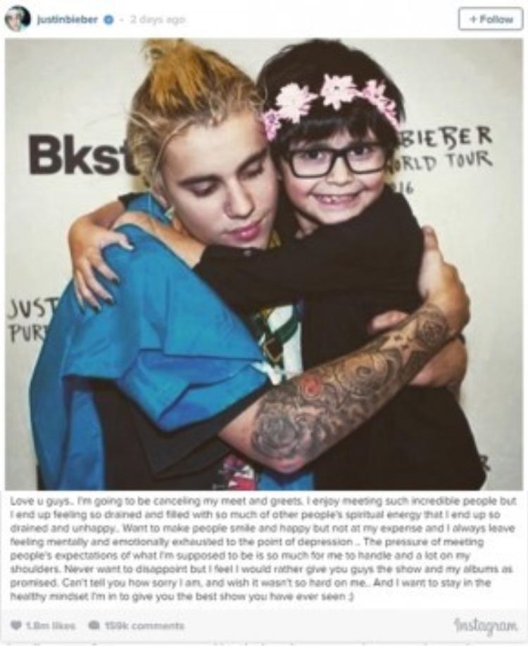 Dòng 'tâm thư' của Justin gửi đến fan.