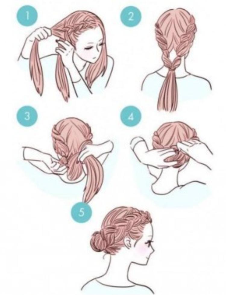 Chia ngôi giữa rồi tết 3 thông thường ở phần tóc hai bên mái. Buộc các mối tóc lại thành 1. Cuốn gọn phần tóc thừa vào phía bên trong rồi dùng kẹp tăm cố định lại. Chỉ mất 5 phút bạn đã có một kiểu tóc gọn gàng mà vô cùng duyên dáng.