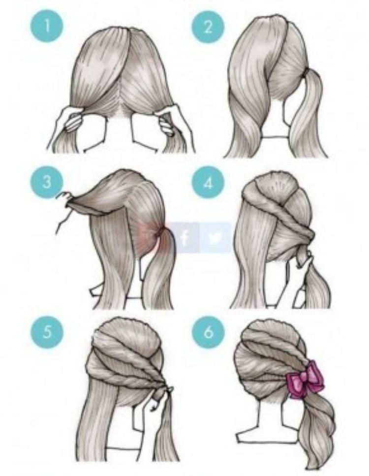 Chia tóc làm hai phần. Buộc gọn phần tóc bên phải rồi lần lượt chia đều các lọn tóc bên trái cuốn gọn sang. Dùng kẹp nơ cố định các mối tóc. Kiểu tóc này vô cùng phù hợp với các cô nàng nữ tính.