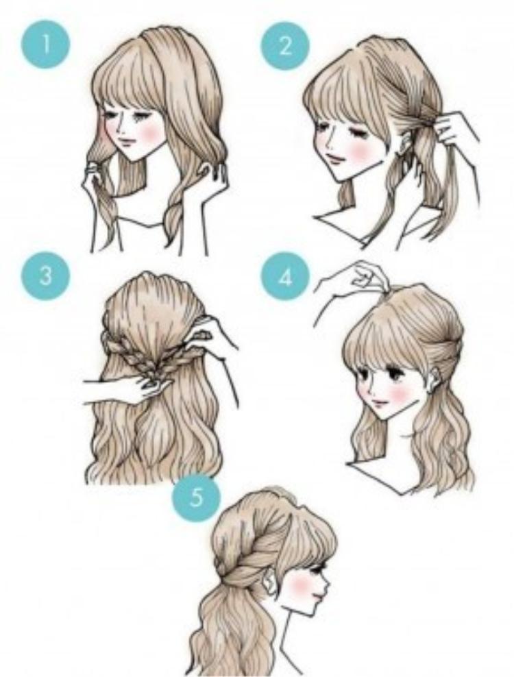 Giữ nguyên phần mái. Tết phần tóc hai bên mai theo kiểu thông thường rồi buộc gọn lại phía sau. Cuối cùng, đánh rối cho phần tóc trên đỉnh đầu để tạo độ phồng. Kiểu tóc này thường phù hợp với những cô nàng mang phong cách tiểu thư, công chúa.