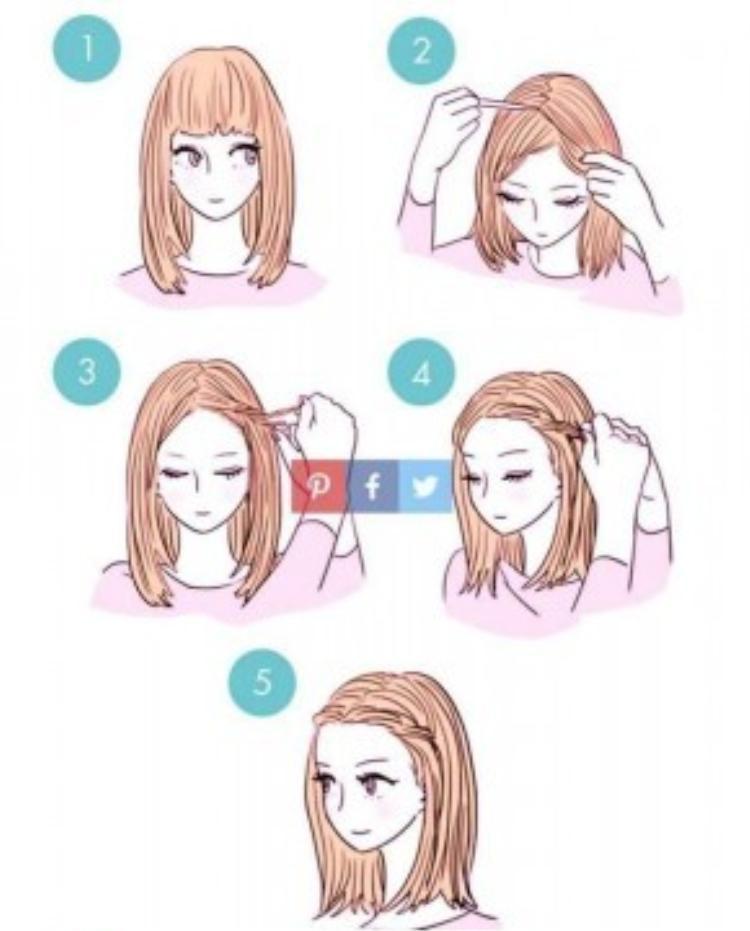 Kiểu tóc vô cùng dễ làm theo và tốn chưa đến 5 phút của các bạn. Với một mái tóc dài bình thường, hãy chia phần mái theo đường zic zắc rồi tết 3 một phần nhỏ tóc hai bên mái. Vuối gọn 2 lọn tóc đã tết ra phía sau vành tai là đã hoàn thành kiểu tóc này rồi. Vô cùng nhanh gọn bạn đã có một vẻ ngoài mới lạ.