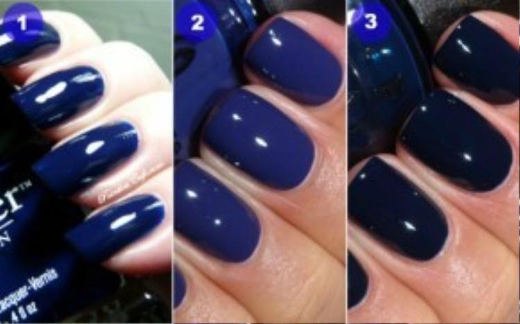Cao cấp hơn, bạn cũng có thể sử dụng sơn móng OPI với ba tông xanh dương cực kỳ cá tính như thế này.