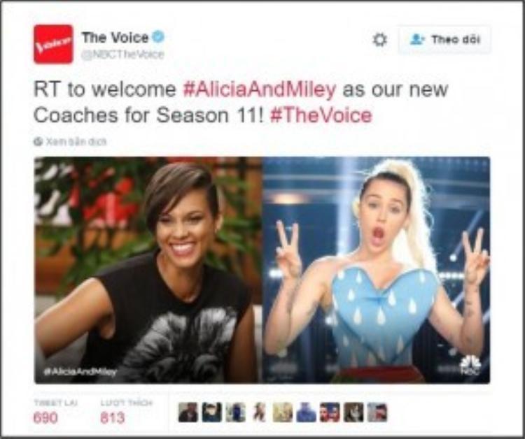 NBC vừa đã xác nhận Miley Cirus cùng Alicia Keys sẽ thế chỗ Christina Aguilera và Pharrell Williams tại mùa 11.