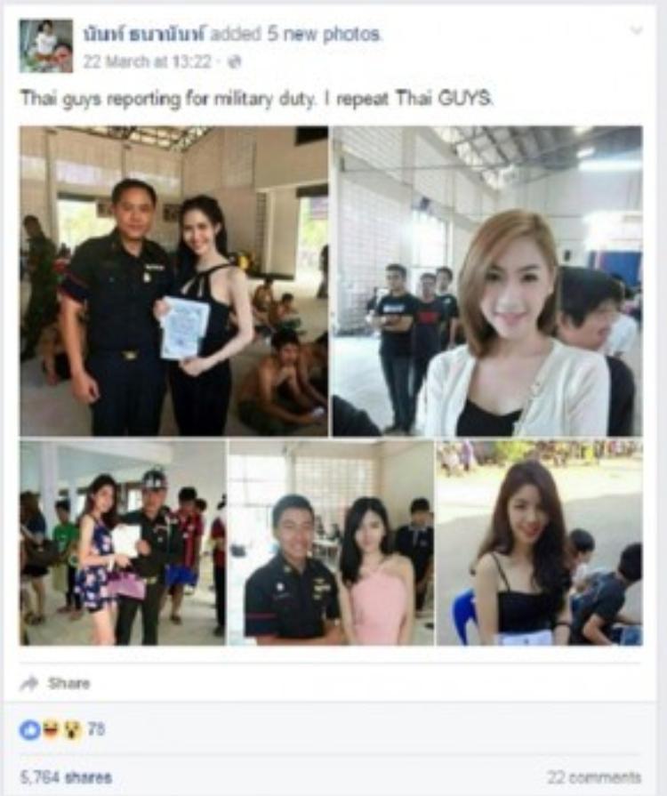 Hôm 22/3, một người có tên Nant Thananan chia sẻ loạt ảnh những chàng trai chuyển giới người Thái Lan đi xét tuyển nghĩa vụ quân sự trên Facebook cá nhân.