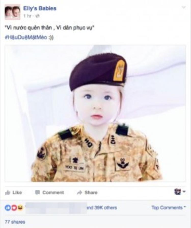 """""""Vi nước quên thân, vì dân phục vụ"""" - Elly Trần hóm hỉnh chia sẻ hình ảnh bé quân nhân Cadie vô cùng dễ thương."""