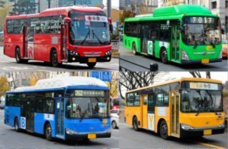 Các tuyến xe buýt tại Seoul có màu sắc khác nhau nhằm đánh dấu từng tuyến.