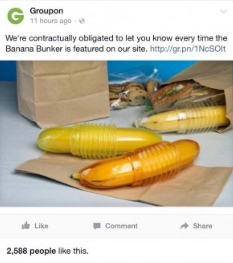 Post công bốmặt hàng mới Banan Bunker đã chính thức trình làng trên Facebook của Groupon.