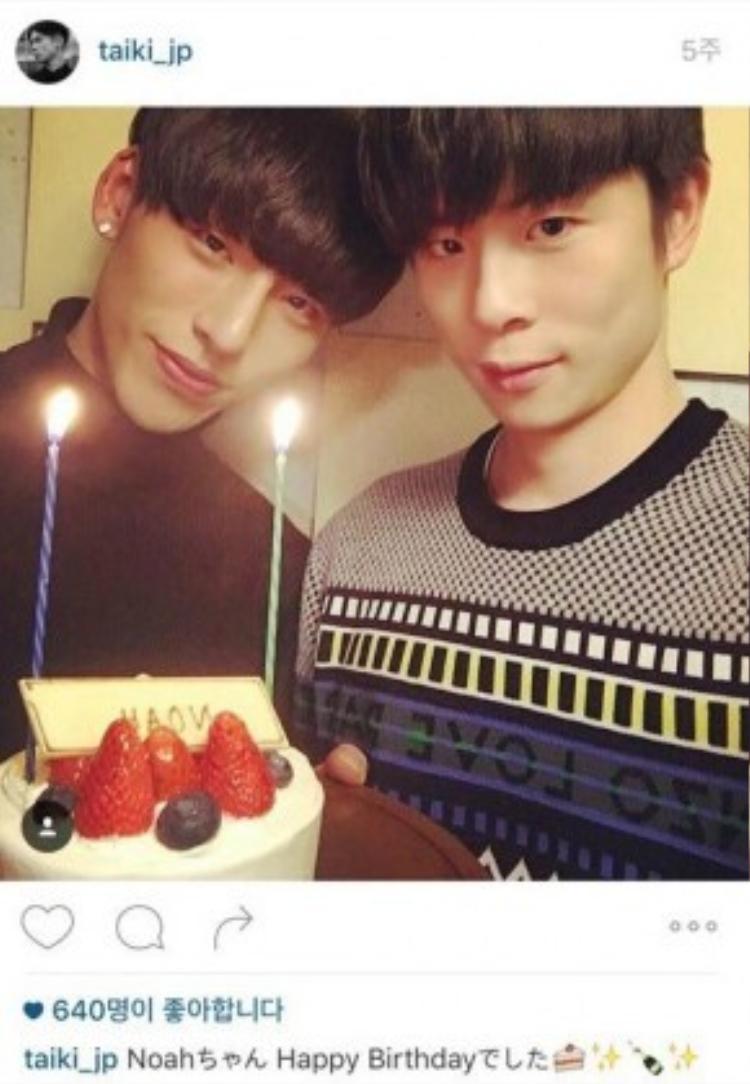 Taiki đã bay sang Hàn Quốc để cùng thổi nến chúc mừng sinh nhật bạn trai Noah.