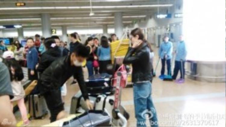 Lưu Thi Thi khá nổi bật tại sân bay.