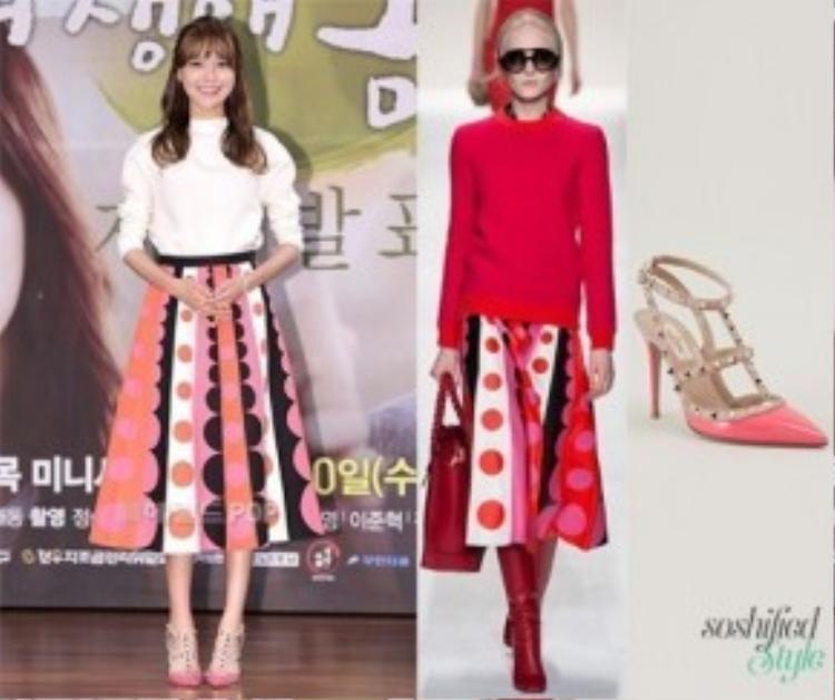 Cô nàng chân dài Sooyoung (SNSD) diện chiếc chân váy dài họa tiết và giày cao gót từ nhãn hiệu nổi tiếng Valentino. Tổng trị giá của 2 món đồ khoảng 113 triệu VNĐ.