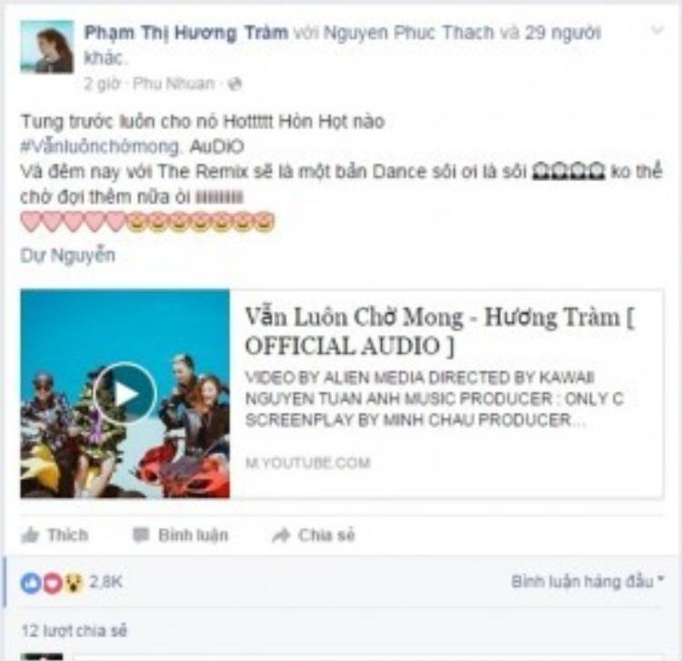 Hương Tràm hào hứng chia sẻ về ca khúc và tiết mục tối nay trên trang cá nhân.
