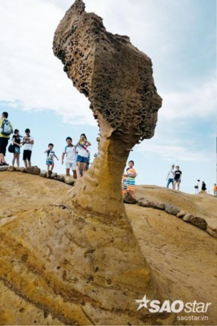 """Ngày nay, mỏm đá """"Đầu Nữ Hoàng"""" là vị trí được đông đảo du khách quan tâm và tìm hiểu nhất tại công viên Yehliu. Hiện phần hẹp xung quanh cổ của mỏm đá chỉ còn khoảng 138cm, một phần do tác động của thiên nhiên, một phần ảnh hưởng bởi con người. Do đó, khu vực quanh """"Đầu Nữ Hoàng"""" được giới hạn nhằm tránh sự tiếp xúc quá gần từ du khách."""