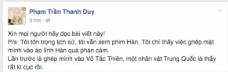 Nam ca sĩ Thanh Duy idol bày tỏ quan điểm của mình.