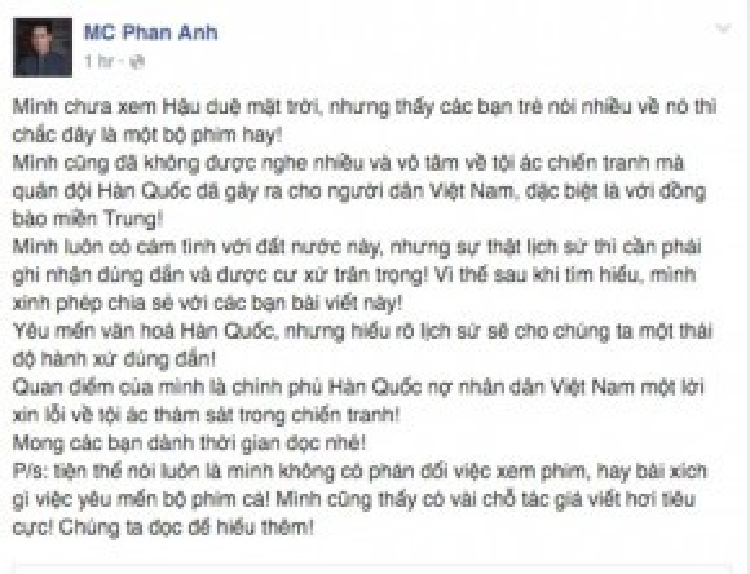 MC Phan Anh cũng đề cập đến vấn đề này trong status mới nhất của mình.