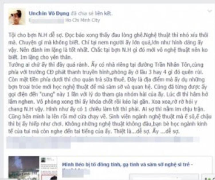 Ngoài Hoàng Tôn, nhạc sĩ Phúc Trường, đạo diễn, biên kịch Unchin vô dụng của phim ngắn Xin lỗi! Anh chỉ là thằng bán bánh giò cũng cũng công khai tiết lộ sự thật về con người Minh Béo.