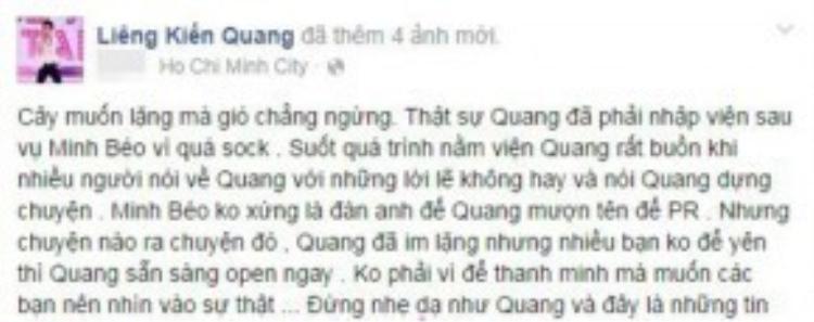 Một chàng trẻ tuổi khác lại đăng tải những bằng chứng tố Minh Béo quấy rối.