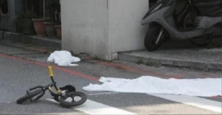 Chiếc xe đạp mini màbé gái 4 tuổi đang chơi trước khi chết thảm dưới tay hung thủ. Ảnh: Shanghaiist