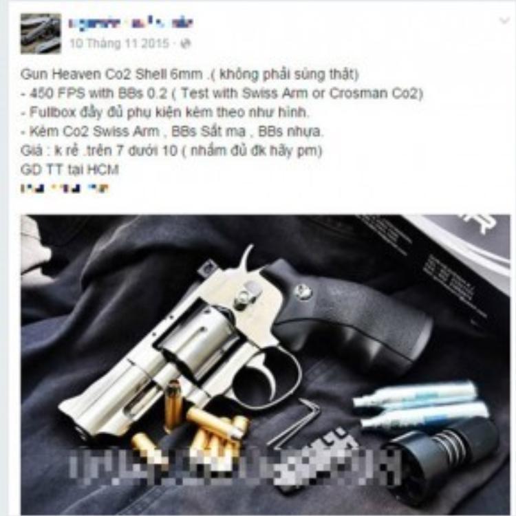 Rao bán súng tràn lan trên mạng.