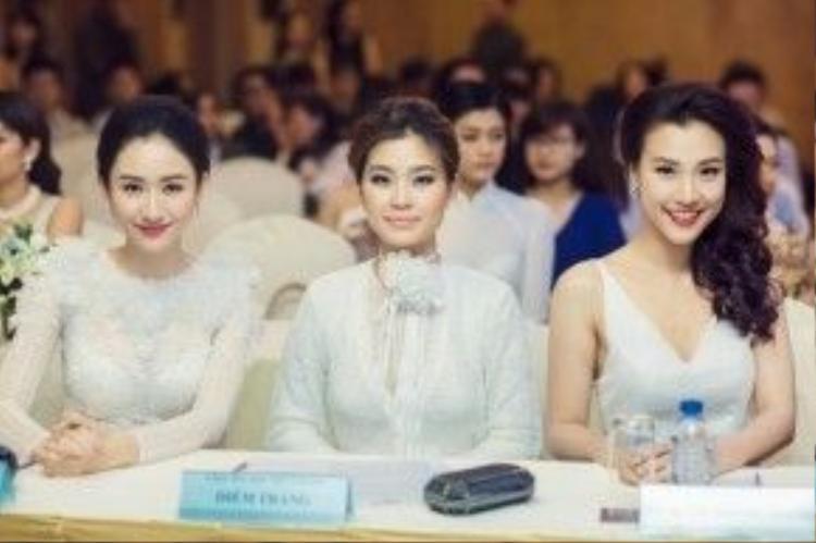 Từ trái qua phải: Á hậu Liên lục địa Hà Thu, Á hậu Diễm Trang và Á hậu Hoàng Anh tươi tắn trong sự kiện.
