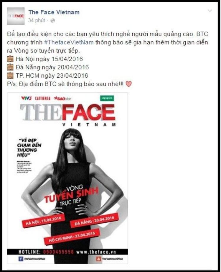 The Face dời ngày tuyển sinh, tìm kiếm thêm các người mẫu tiềm năng