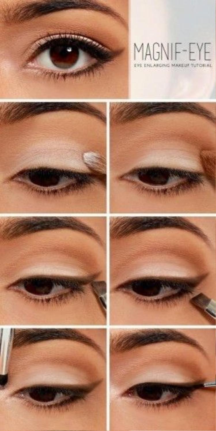 Đơn giản hơn, hãy tận dụng tông eye shadow trắng và nâu để tạo khối và làm sáng đôi mắt như các bước trong hình.