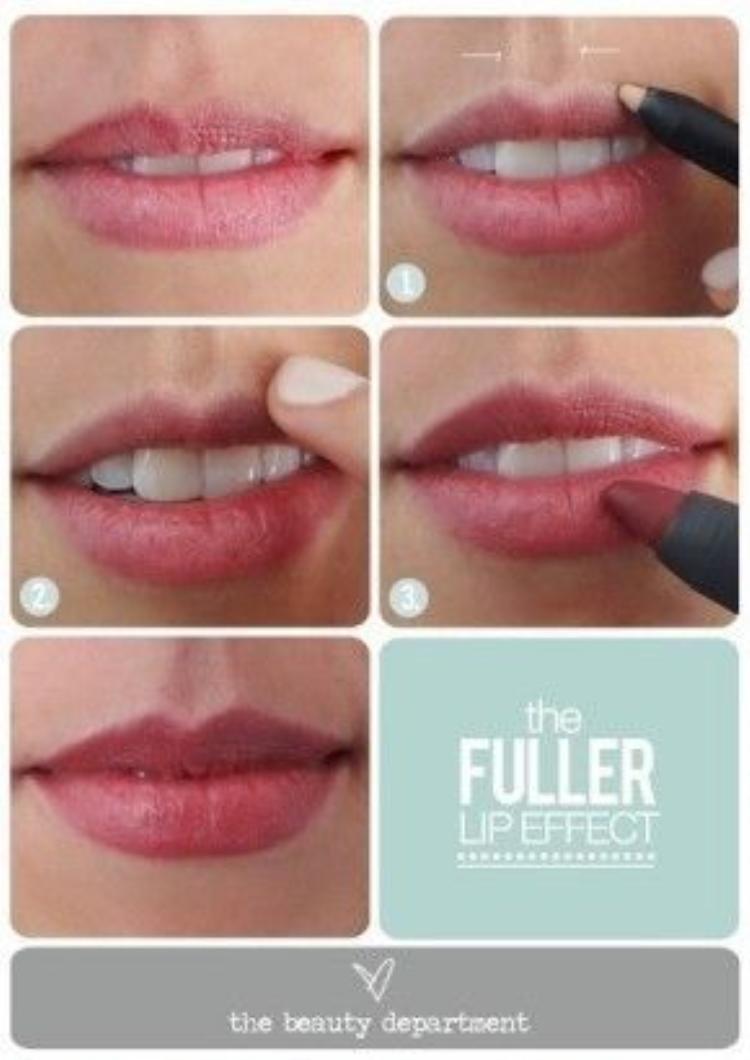 Đây có lẽ là mẹo bạn nên học để lám cho phần môi trên trở nên có chiều sâu và bừng sáng hơn. Bạn cần một pencil eyeliner trắng hoặc màu da cho cách kẻ viền quanh môi này.